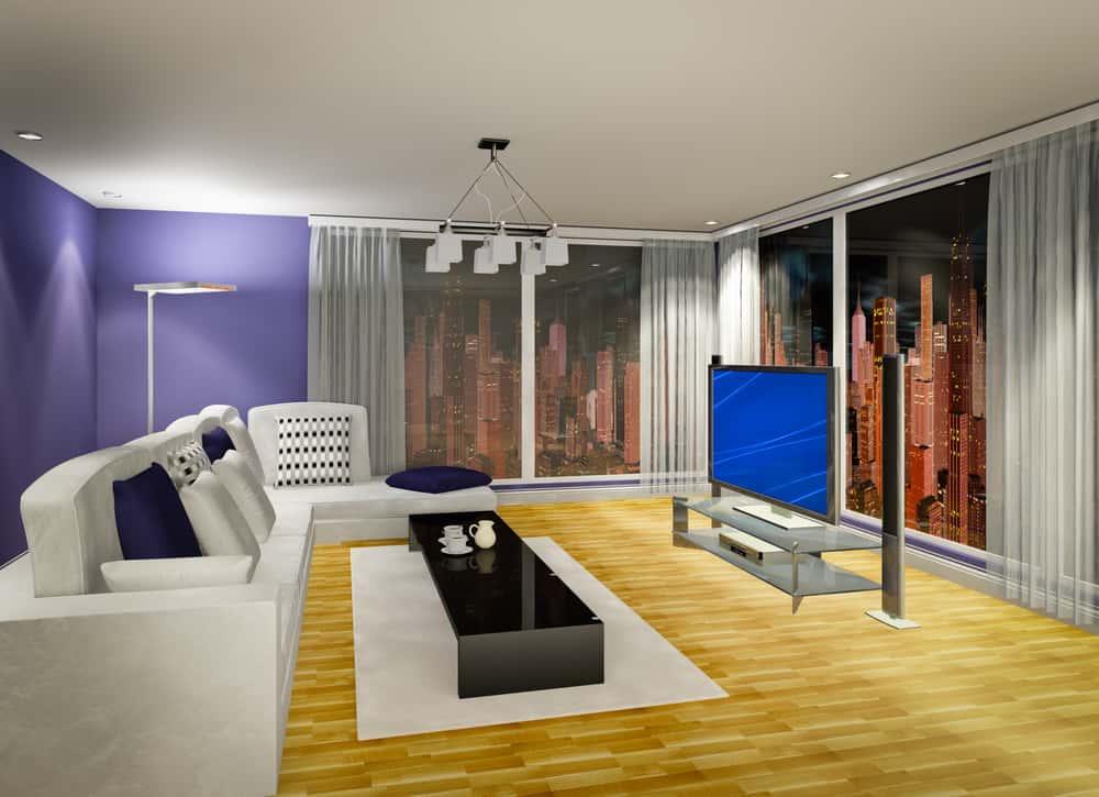 3D illustration of modern living room at evening