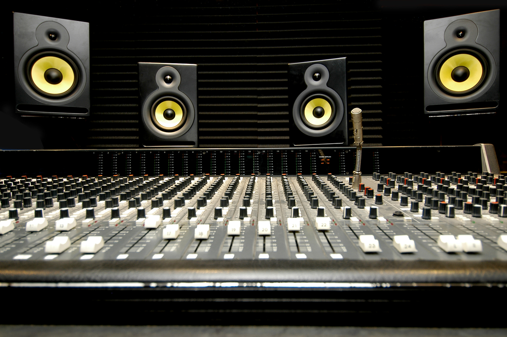 Mixing desk with speakers
