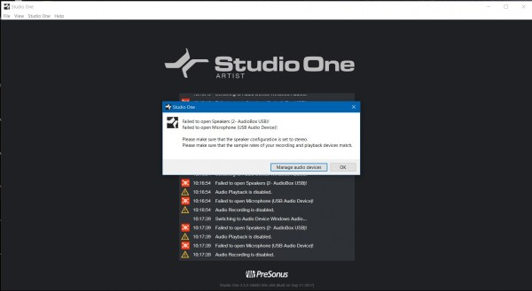 Studio One 3 does not work with Audiobox USB