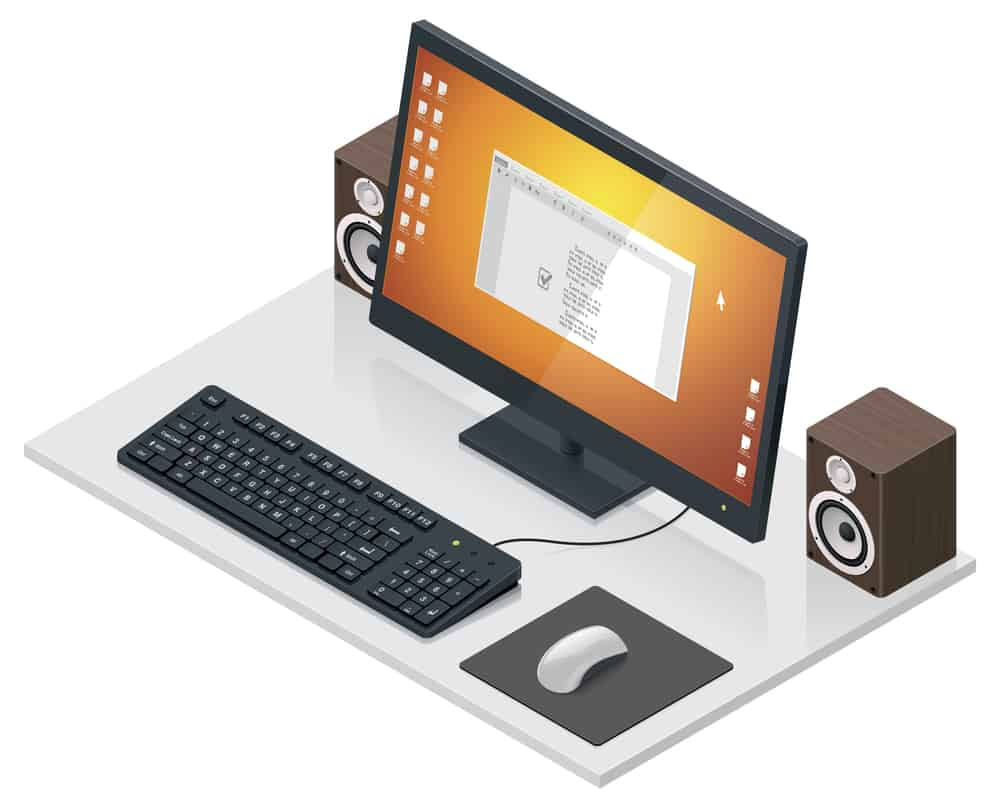 Vector workplace with computer and peripherals