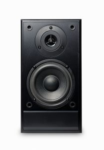 a black studio monitor speakers