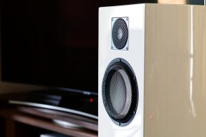 on top of a bookshelf a Hi-end audio speakers system